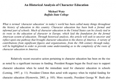 An Historical Analysis of Character Education